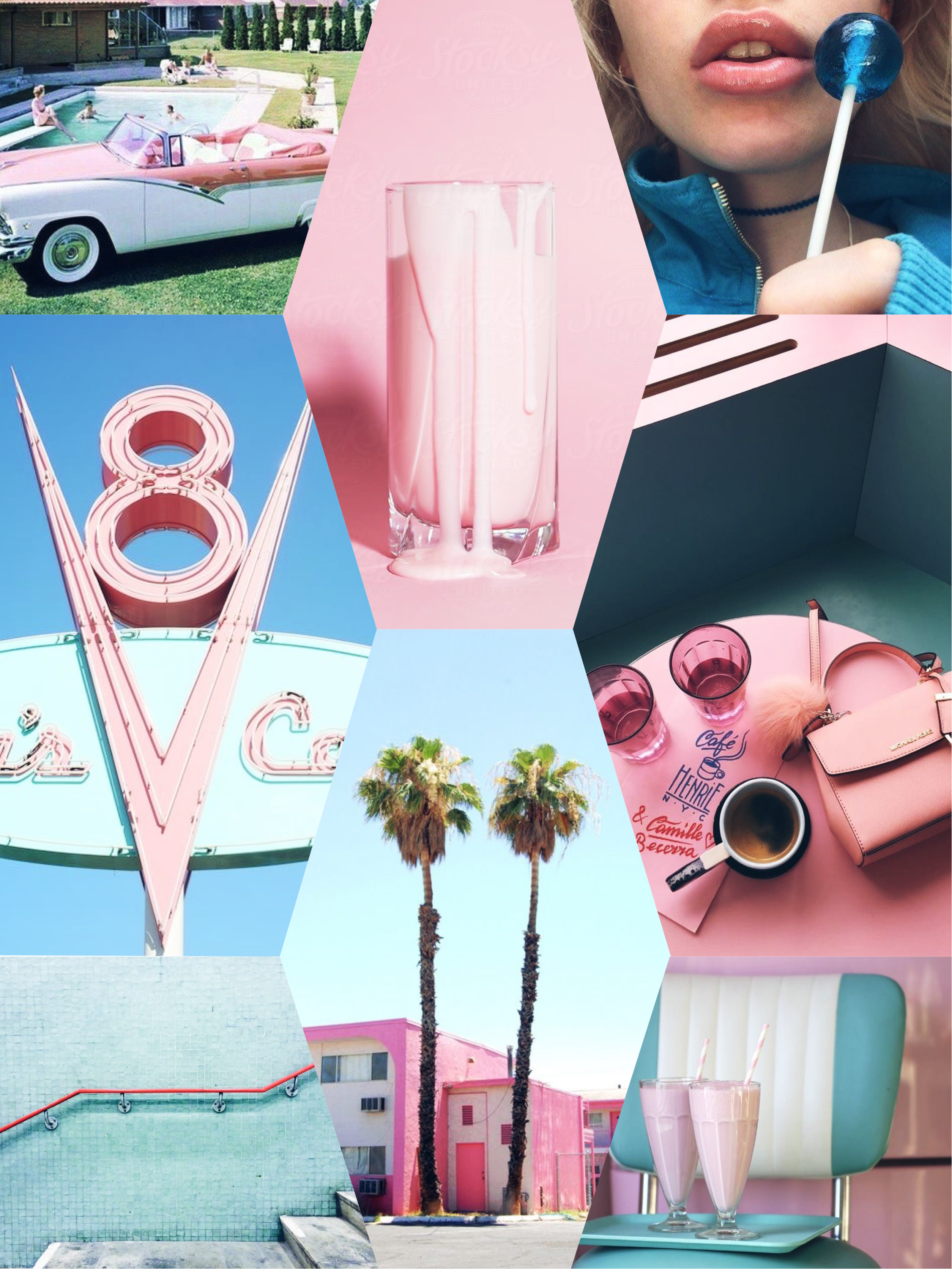 Vintage Pink And Blue 50 S Retro Iphone Wallpaper In 2019