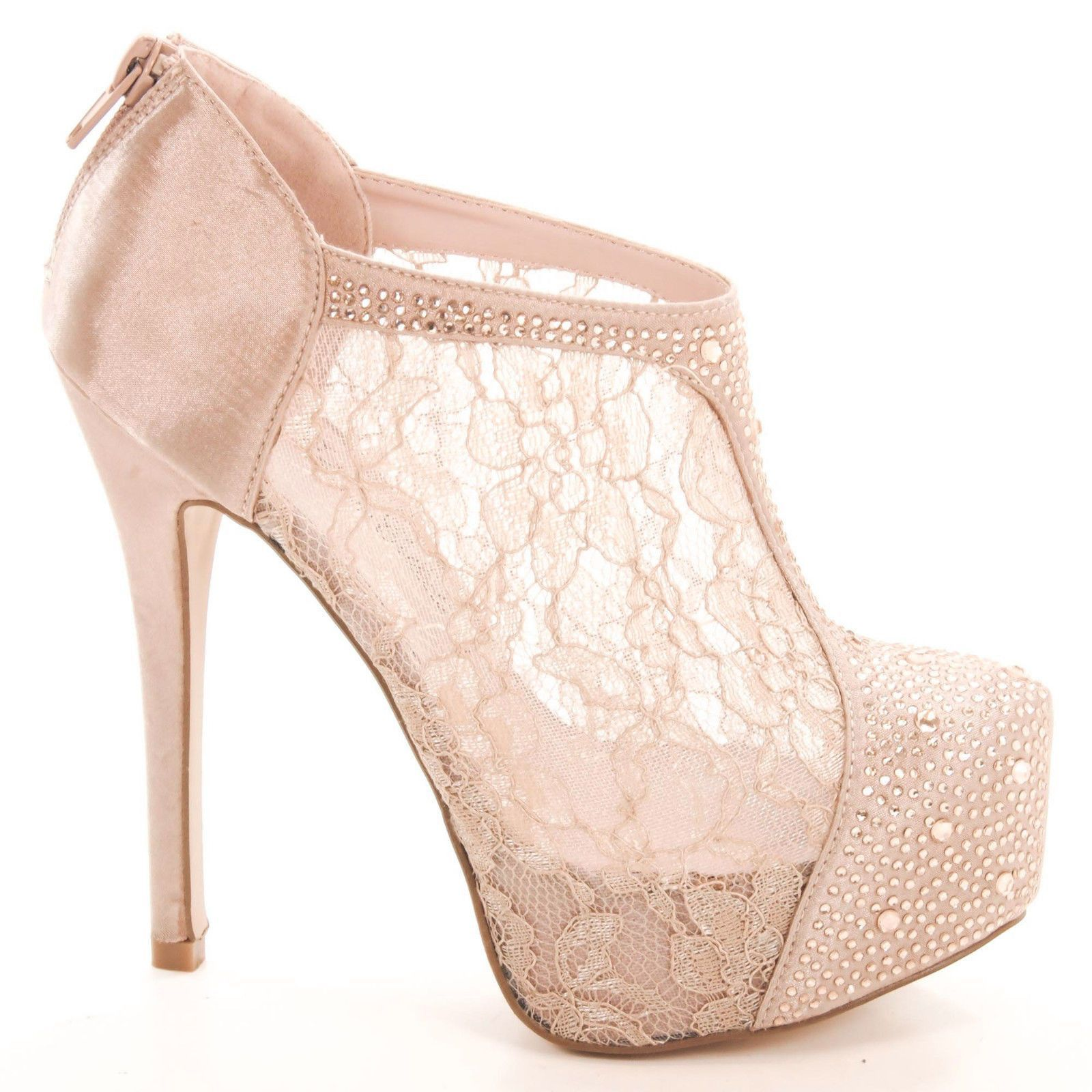60ab04d2c5fd99 Nelson26 Lace Women Rhinestone Stiletto High Heel Platform Pump Ankle Bootie