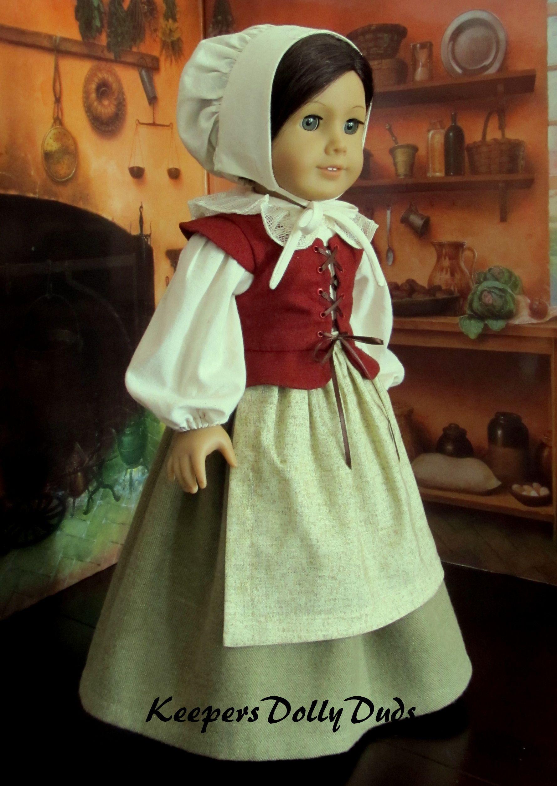 "Doll Clothes 18/"" Colonial Pilgrim Dress Black White Fits American Girl Dolls"