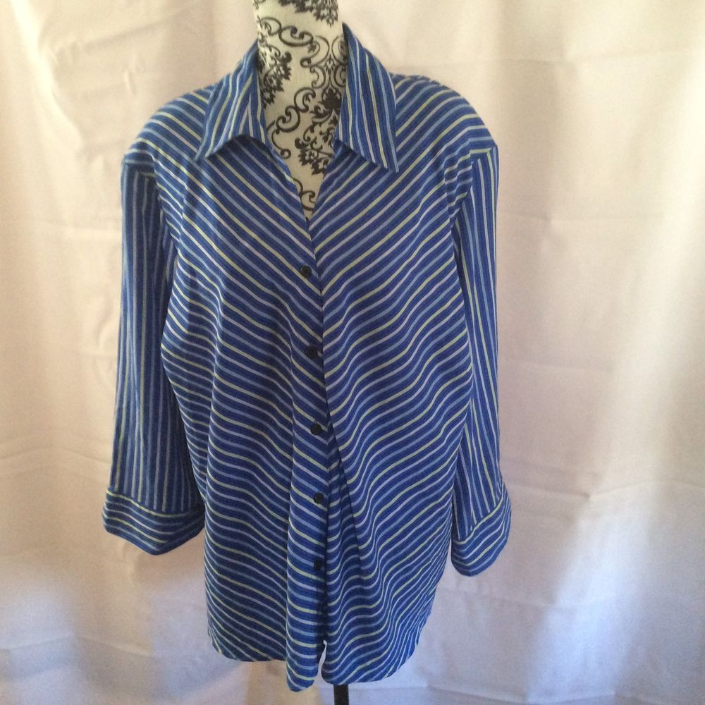 Vintage Kim Rogers Blouse Size 3x Button Front Blue With Multi Color