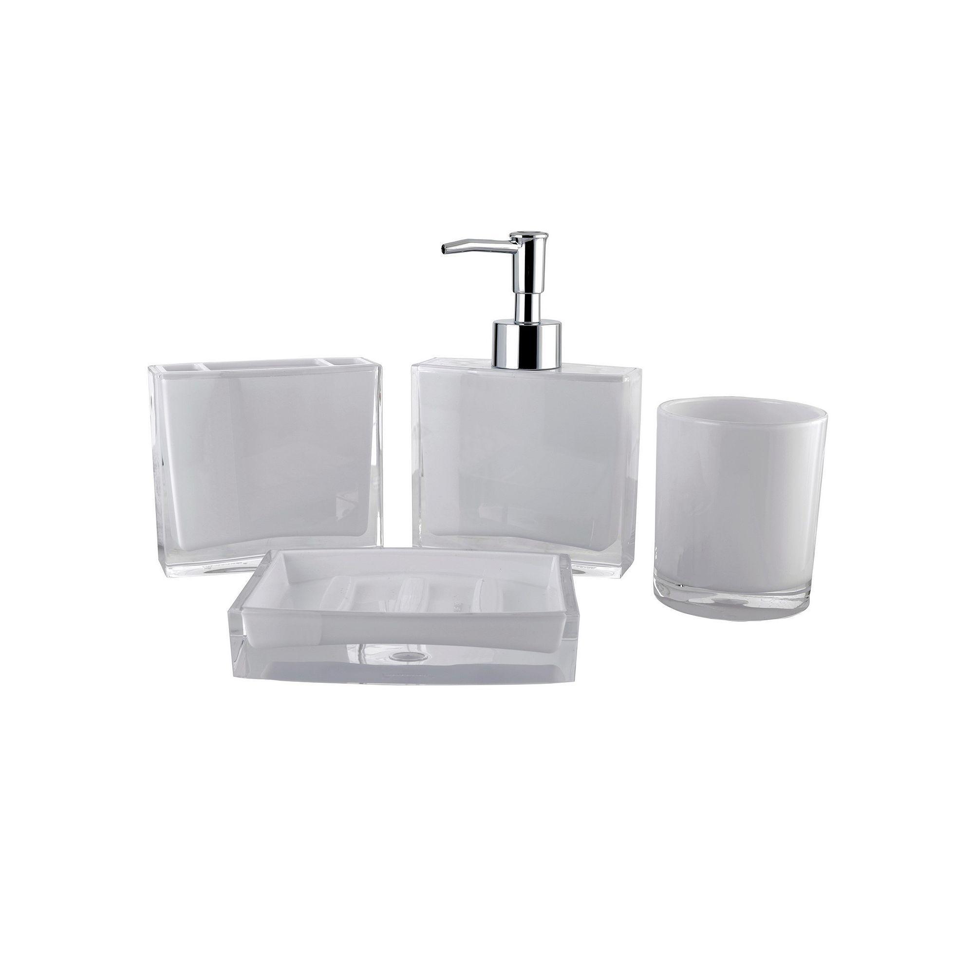 Contemporary 4-piece Bathroom Accessories Set, White | Bathroom ...