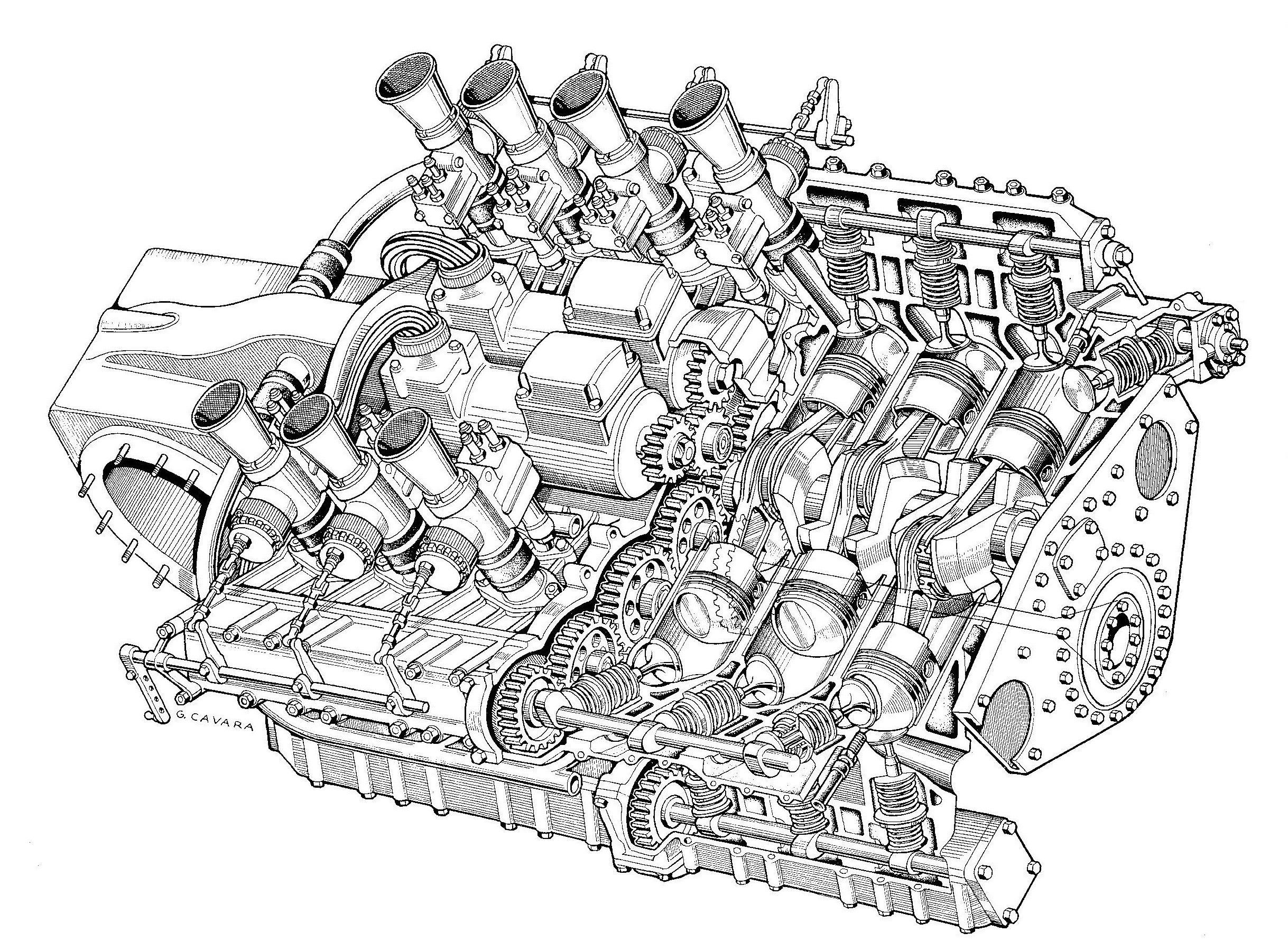 2 500cc flat 12 alfa romeo engine for the alfetta 160 project of 1952 illustrated by g iovanni cavara [ 2437 x 1783 Pixel ]