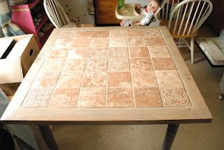 Wood And Tile Table