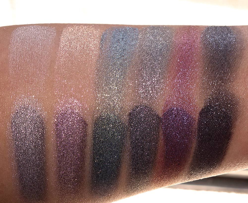 Swatches in the top row: the MAC Dazzleshadows atop MAC Prep + ...