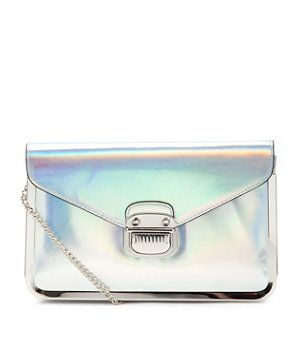 Silver (Silver) Silver Holographic Sally Chain Box Bag  | 263841192 | New Look