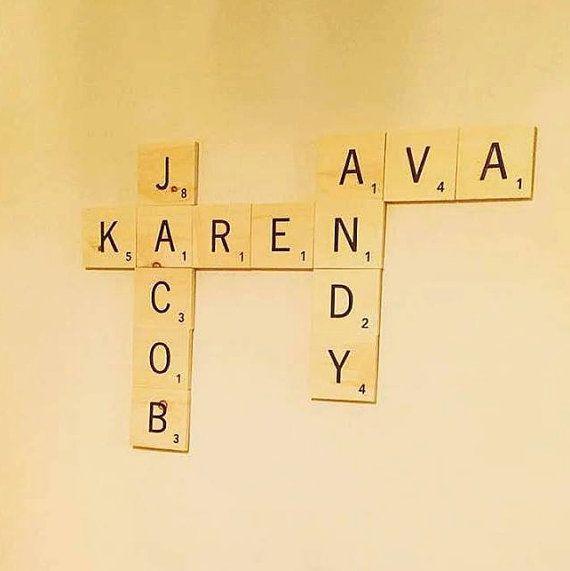 Large engraved letter tiles, custom family name sign, customized for ...