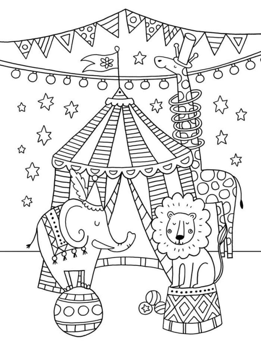 printable coloring pages circus | Circus-colouring-card | Circus crafts, Circus theme crafts ...