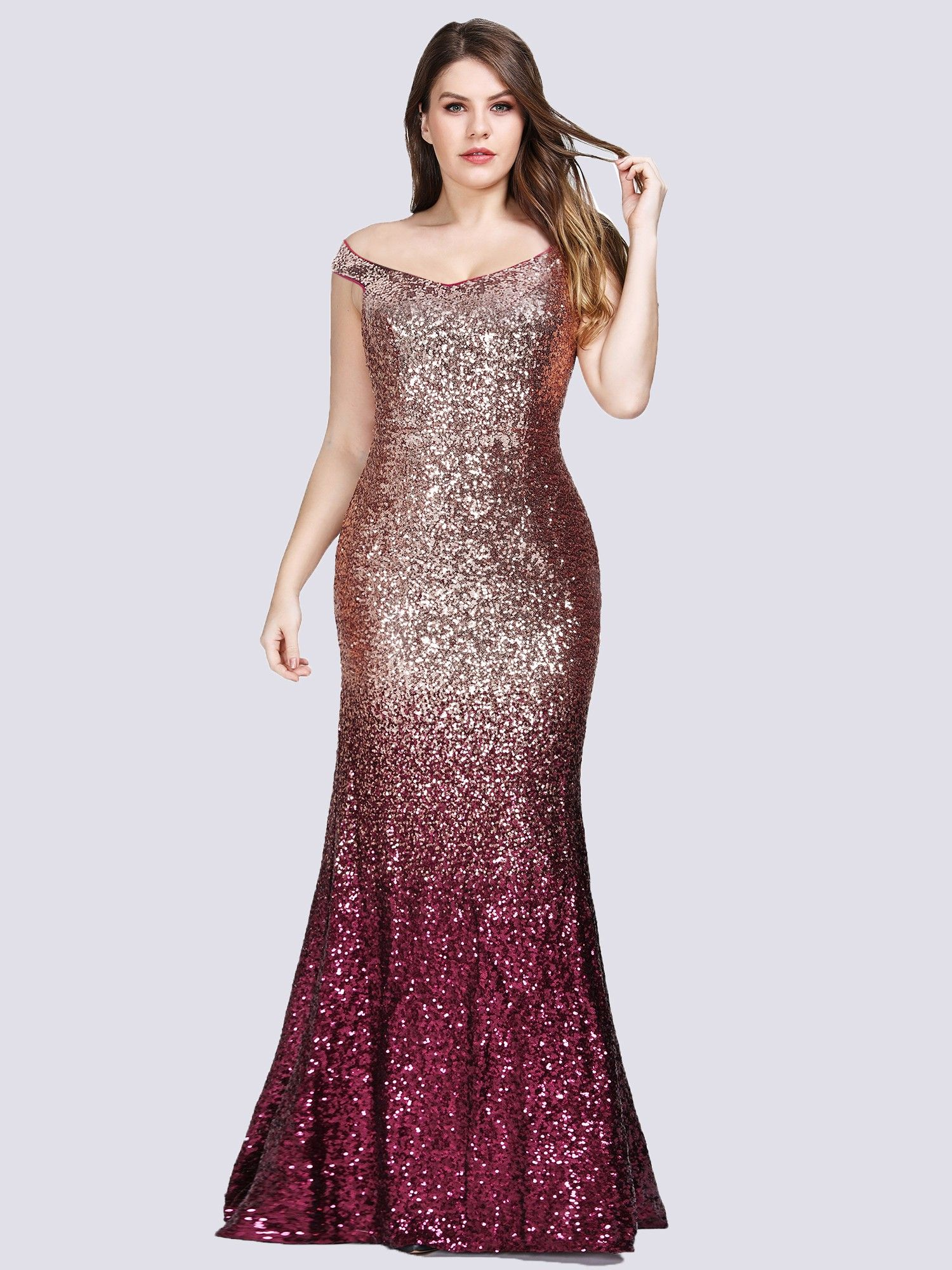 c58dc5573a Plus Size Off Shoulder Floor Length Sequins Evening Gown  sequindress   mermaiddress  ombredress  eveningdress  promdress  EverPretty