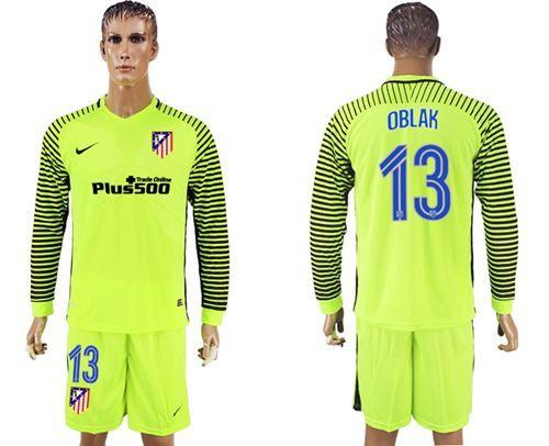 2017-2018 Atletico Madrid #13 Oblak Shiny Green Goalkeeper ...