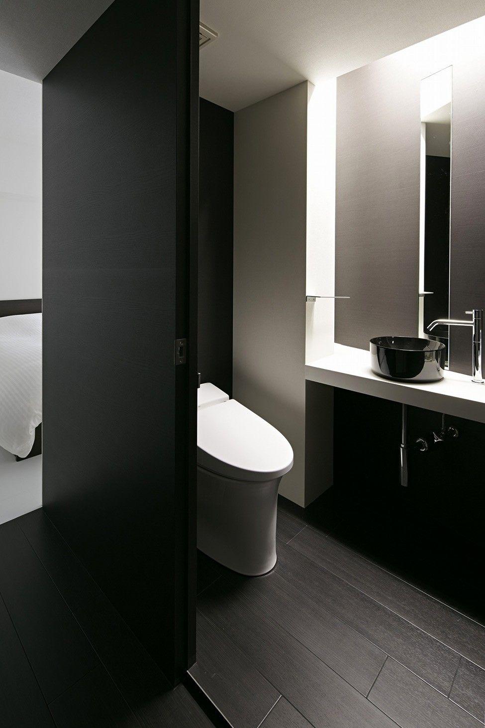 Schwarze und weiße Wohnung-Design in Tokio zeitgenössische ...