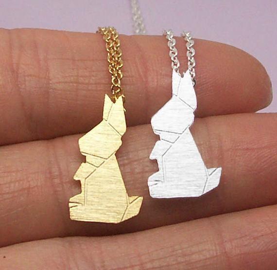 Photo of Rabbit Necklace, Bunny Necklace, Origami Rabbit Necklace, Animal Necklace, Rabbit Jewelry, Bunny Jew