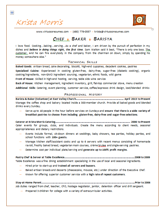 Professional Chef Resume Example  Professional Resume Samples
