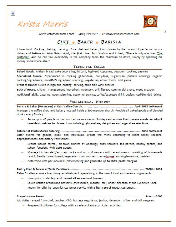 Virtuoso Resumes Chef Resume Job Resume Template Professional Resume Samples
