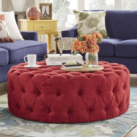 Pleasing Weston Home Round Tufted Cocktail Ottoman Multiple Colors Pabps2019 Chair Design Images Pabps2019Com