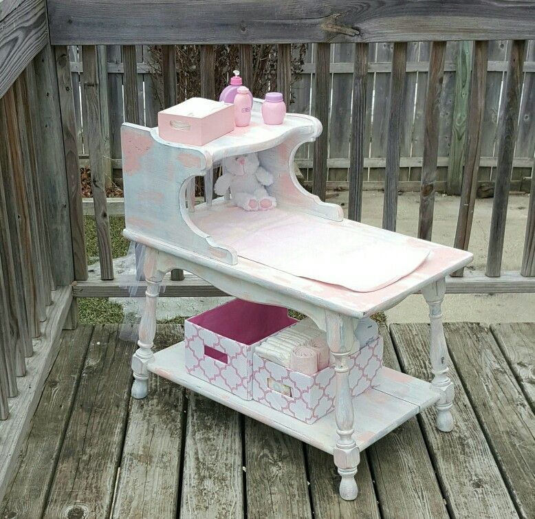 Side Table Made Into Distressed Light Pink Blue And