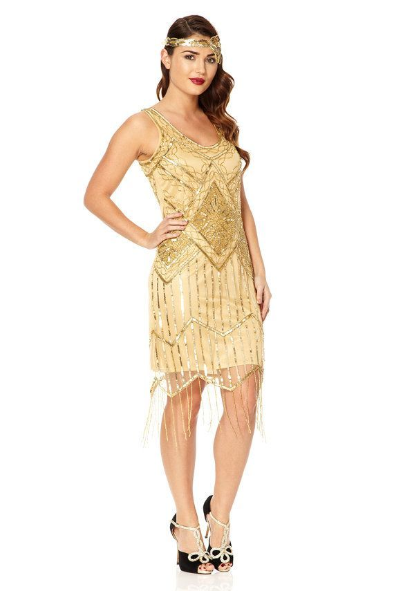 Nice Great Gatsby Dress Tall Uk12 Us8 Aus12 Gold Vintage Inspired 20s Vibe By Gatsbylady