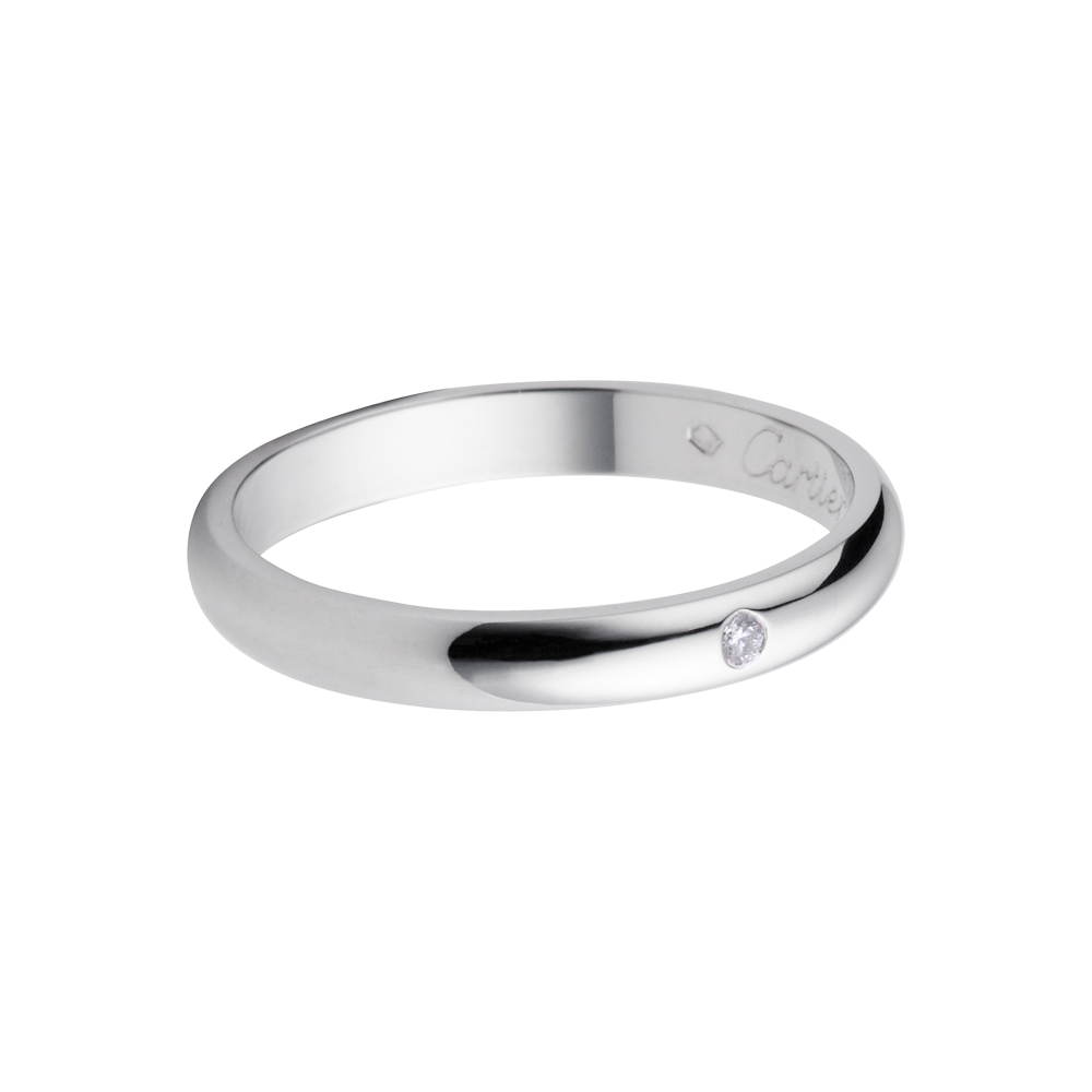 wedding band with diamonds Cartier Classic Platinum Wedding Band Set With A Diamond