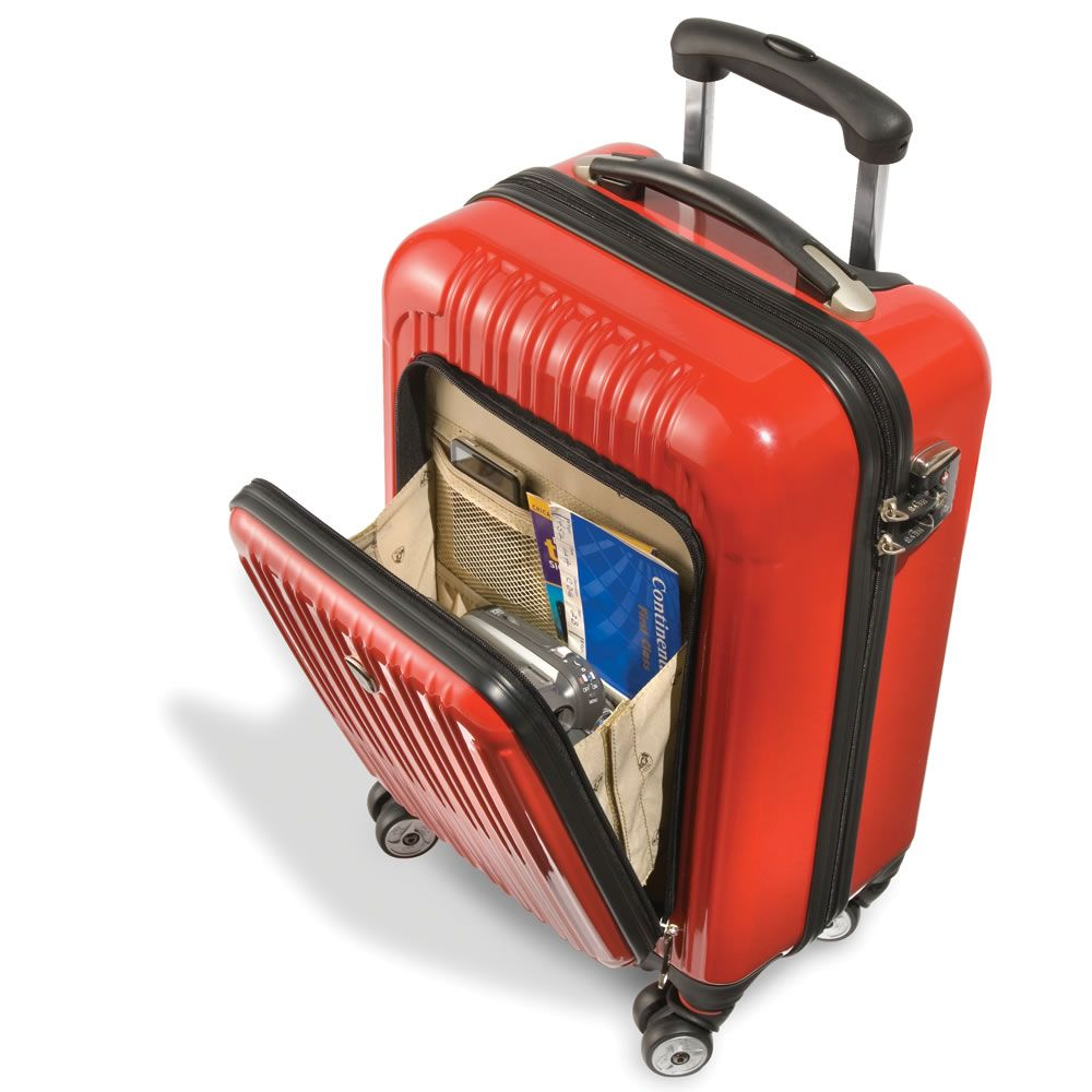 The Only Exterior Pocket Impervious Carry On - Hammacher Schlemmer - This is the only hard-sided carry-on with an exterior pocket, allowing you to stow and easily access vital travel necessities.