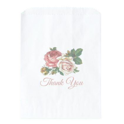 pink thank you rose flower party wedding favor bag party ideas