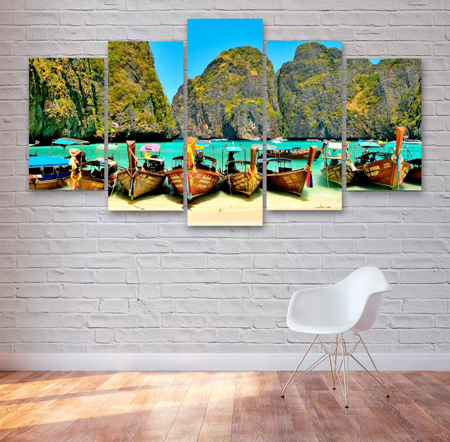 Tai Beach - Boats - Tropical Beach 5 Piece / Panel Canvas - Wall Art -