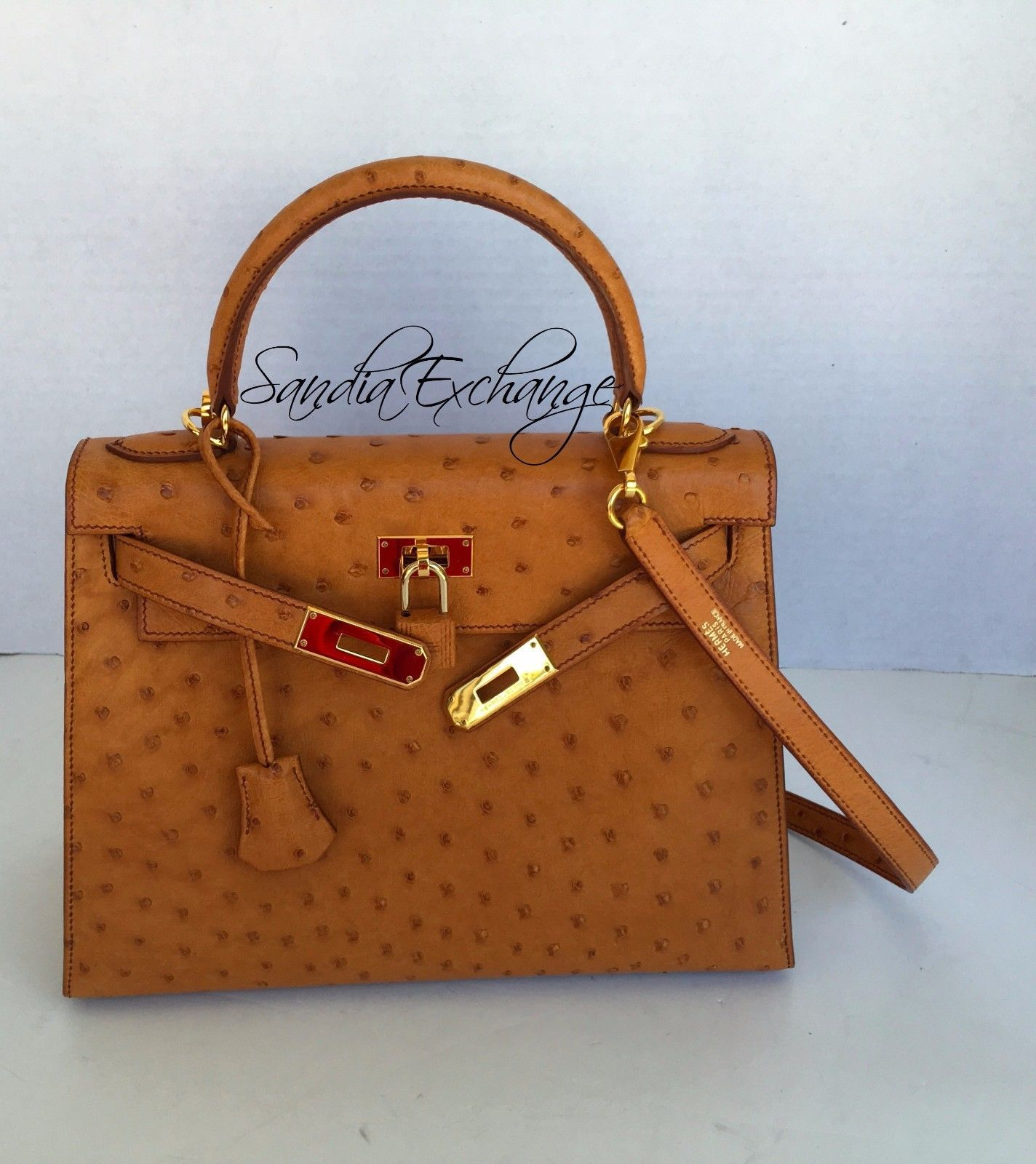 cdd6f7a7d519 Authentic HERMES Kelly 28 cm Ostrich Cognac Sellier Gold Hardware HERMÈS  RARE