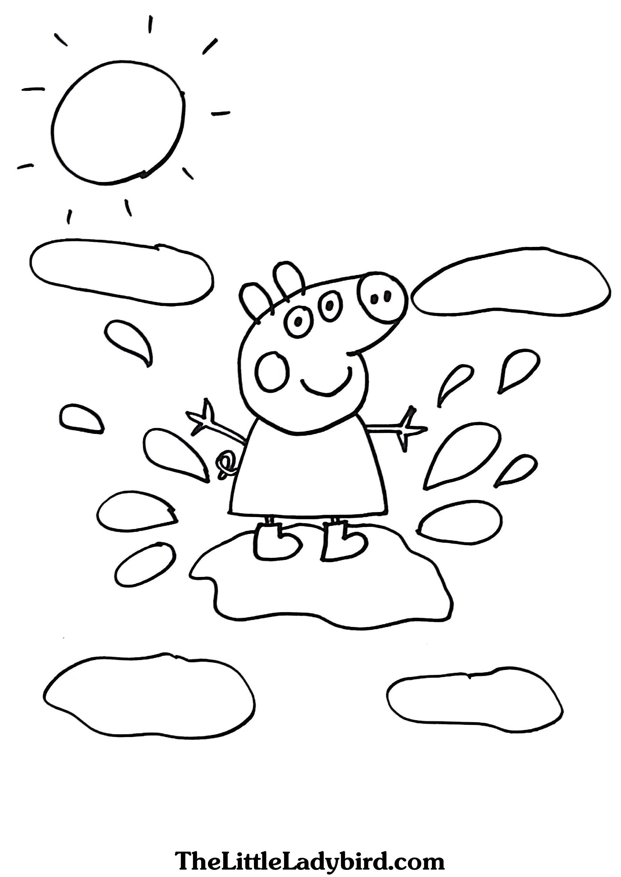 Peppa Pig Muddy Puddles Coloring Pages – Through the thousand ...
