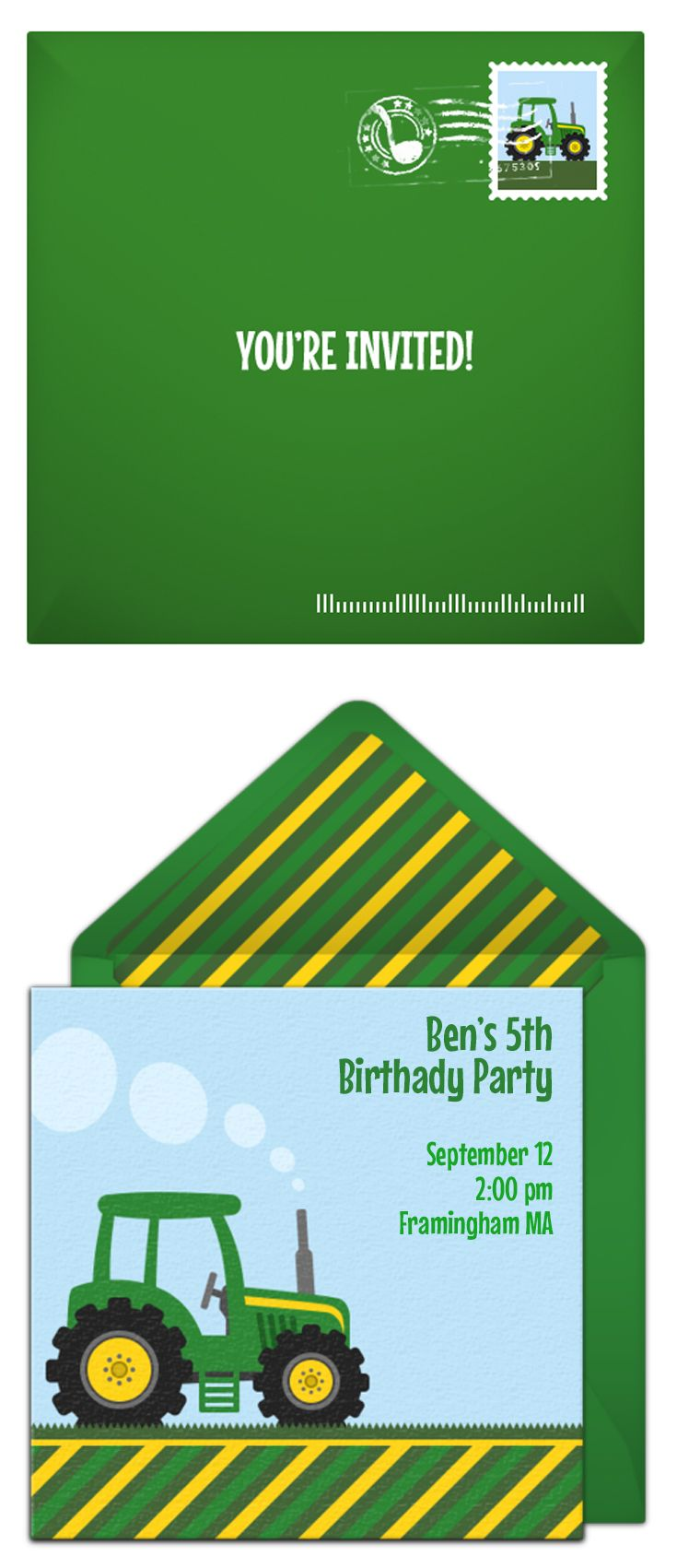 Free Tractor Invitation We Love This Online Design For A Birthday Great Digital Alternative To DIY Paper Options