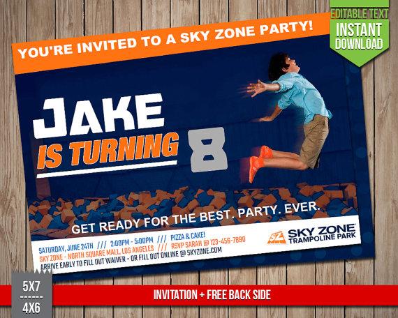 SKY ZONE Invitation Sky Zone Trampoline Park Invite Editable