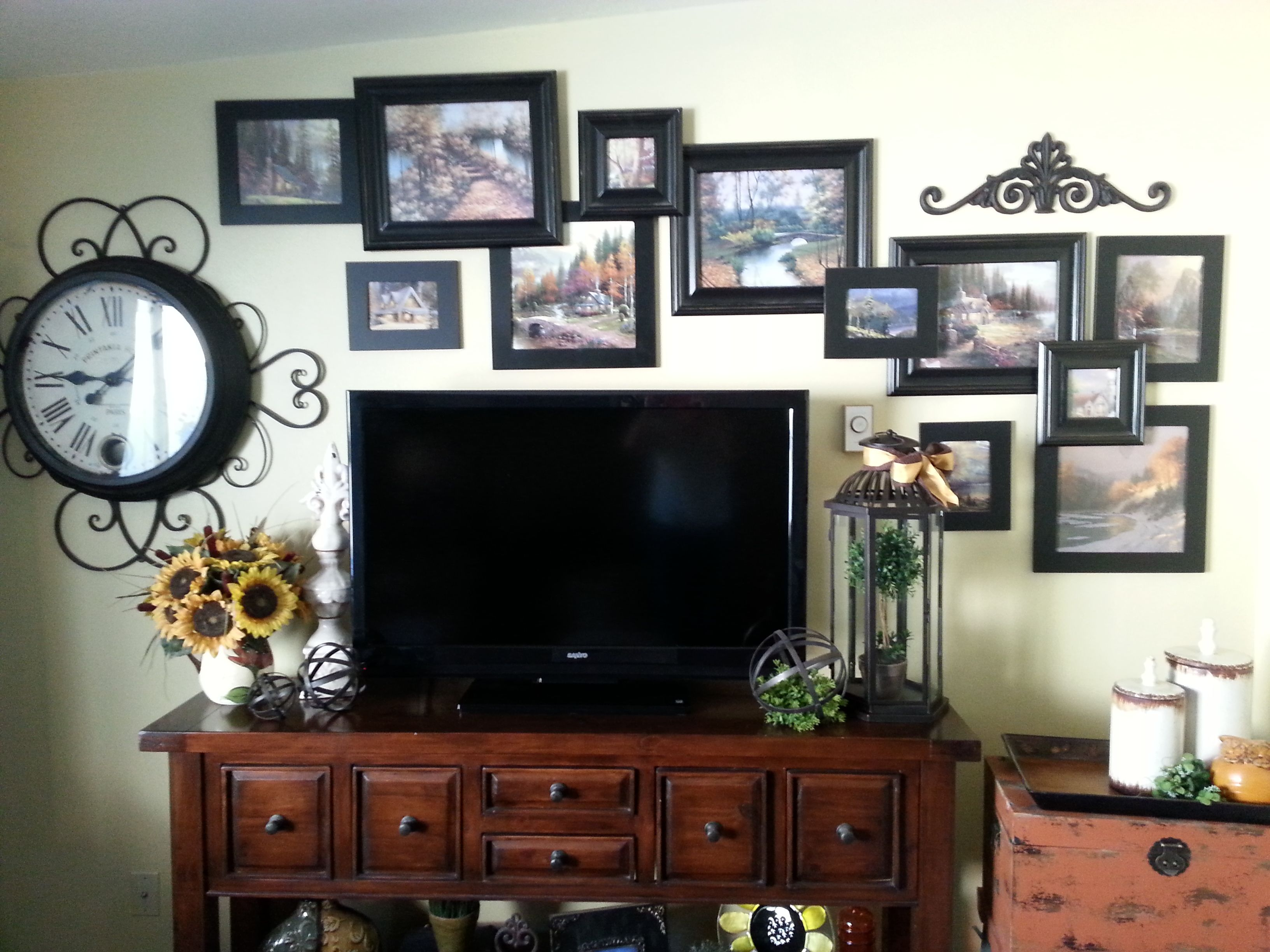 Cant think of anything to do with your big ole flat screen TV? Treat it  just like a giant picture and go around it!
