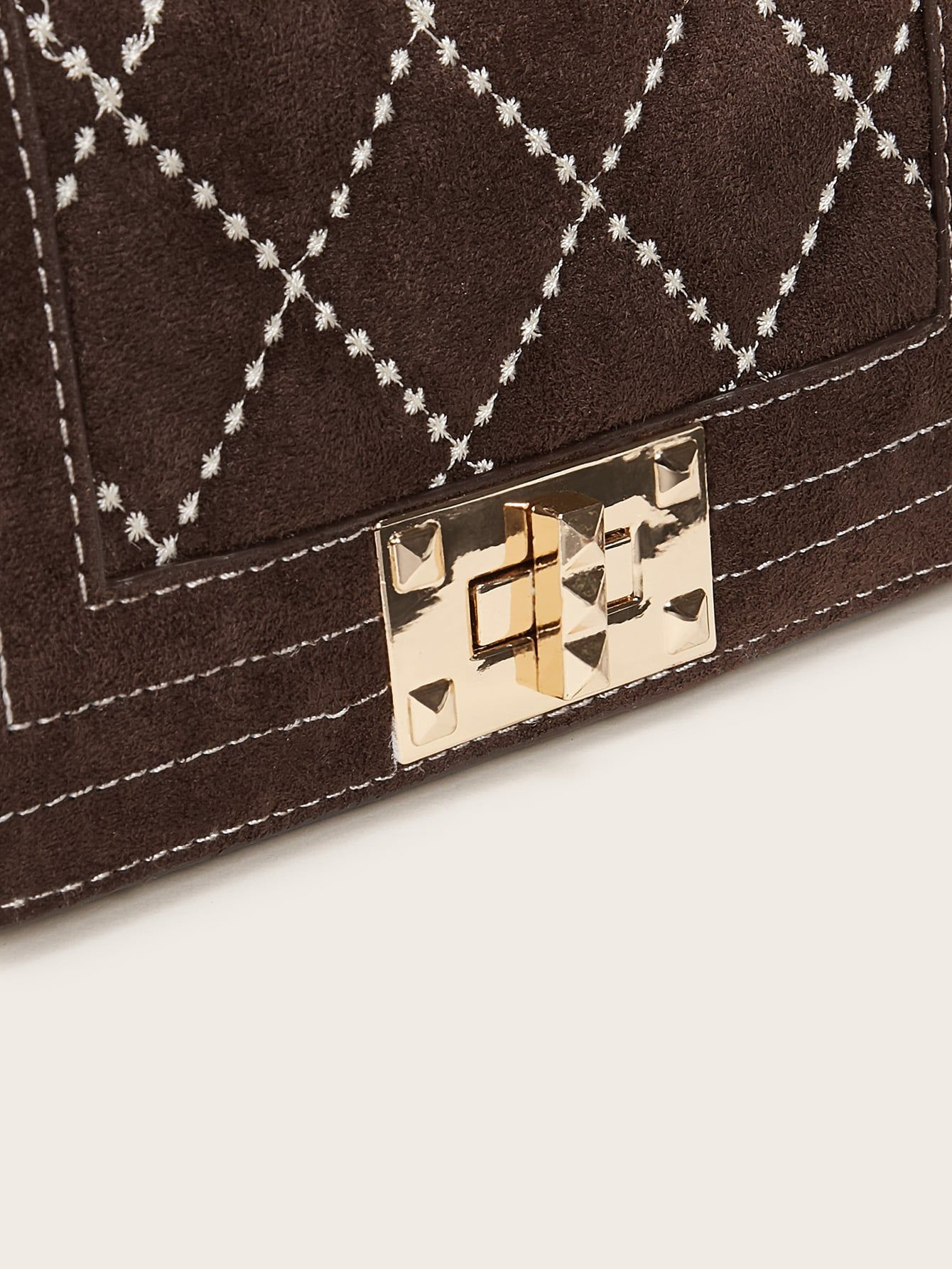 Twist Lock Stitch Detail Chain Bag