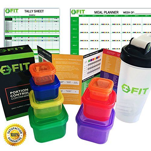 BEST VALUE SET 7 Piece PORTION CONTROL CONTAINERS  PROTEIN SHAKER BOTTLE  COMPLETE GUIDE  COOKBOOK  MEAL PLANNER  TALLY SHEETS PDFs for Weight Loss Comparable to 21 Day Fix -- Want additional info? Click on the image.