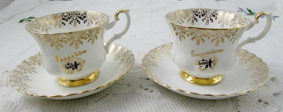 Pair of Tea Cups and Saucers for 50th Wedding Anniversary, Aniversary Gift, Royal Albert, Vintage Bone China