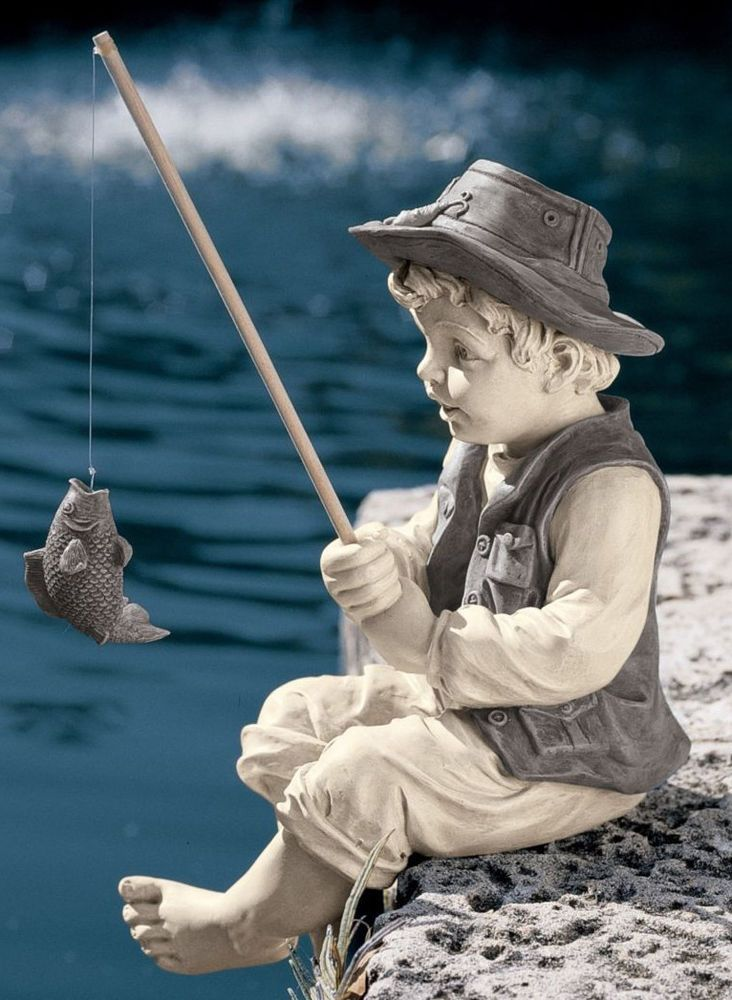 Boy statue gone fishing pole yard decor fish garden art for Fish garden statue