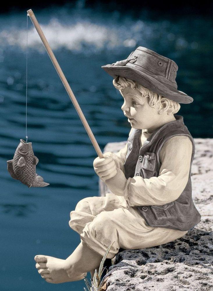 Boy Statue Gone Fishing Pole Yard Decor Fish Garden Art