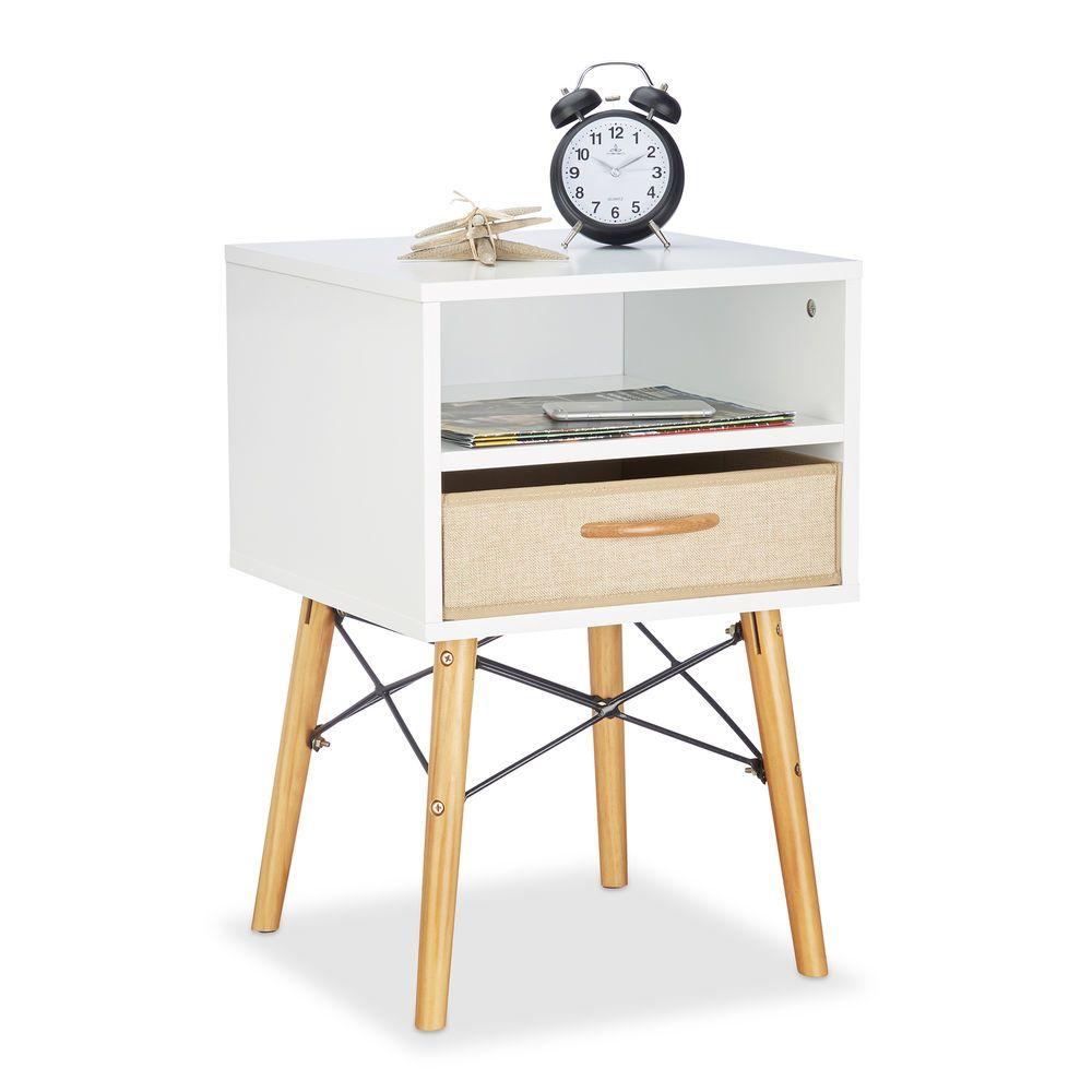 Nachttisch weiß Holzbeine Betttisch Nachtschrank