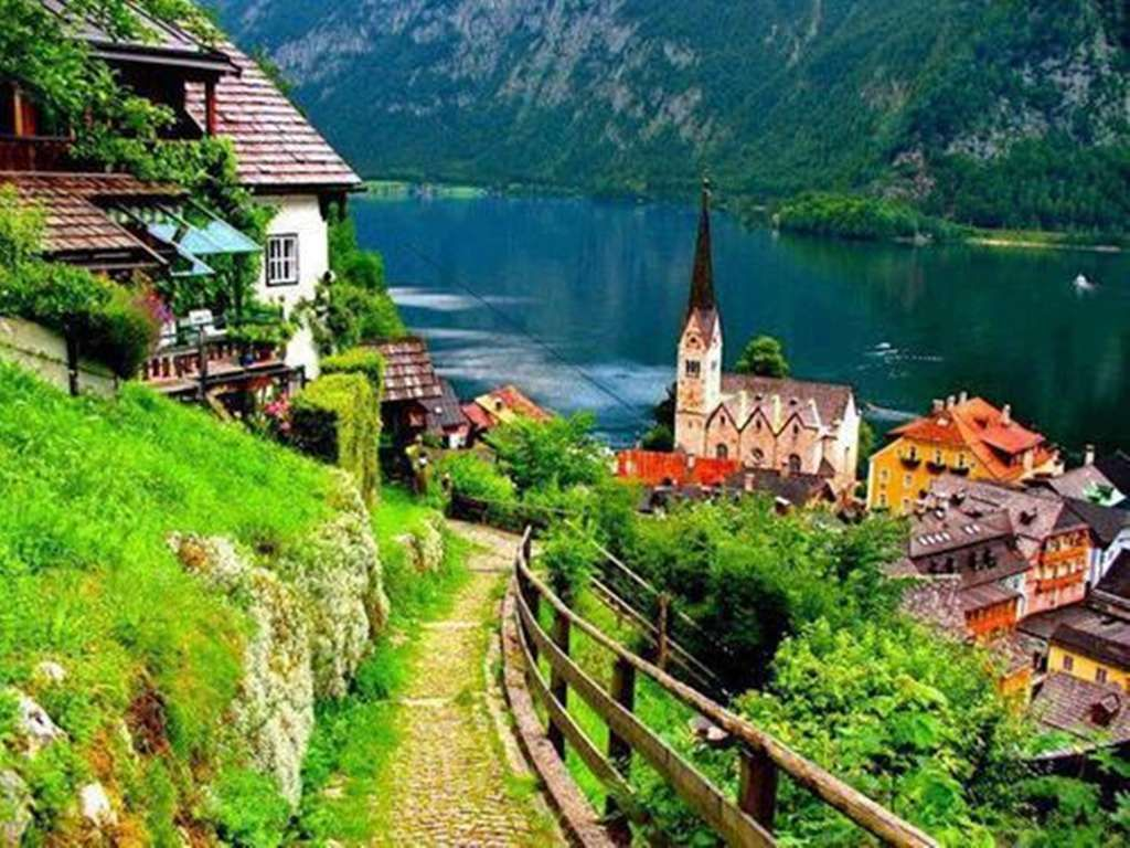 Hallstatt Village Austria 1024 768 High Definition Wallpaper Beautiful Cities