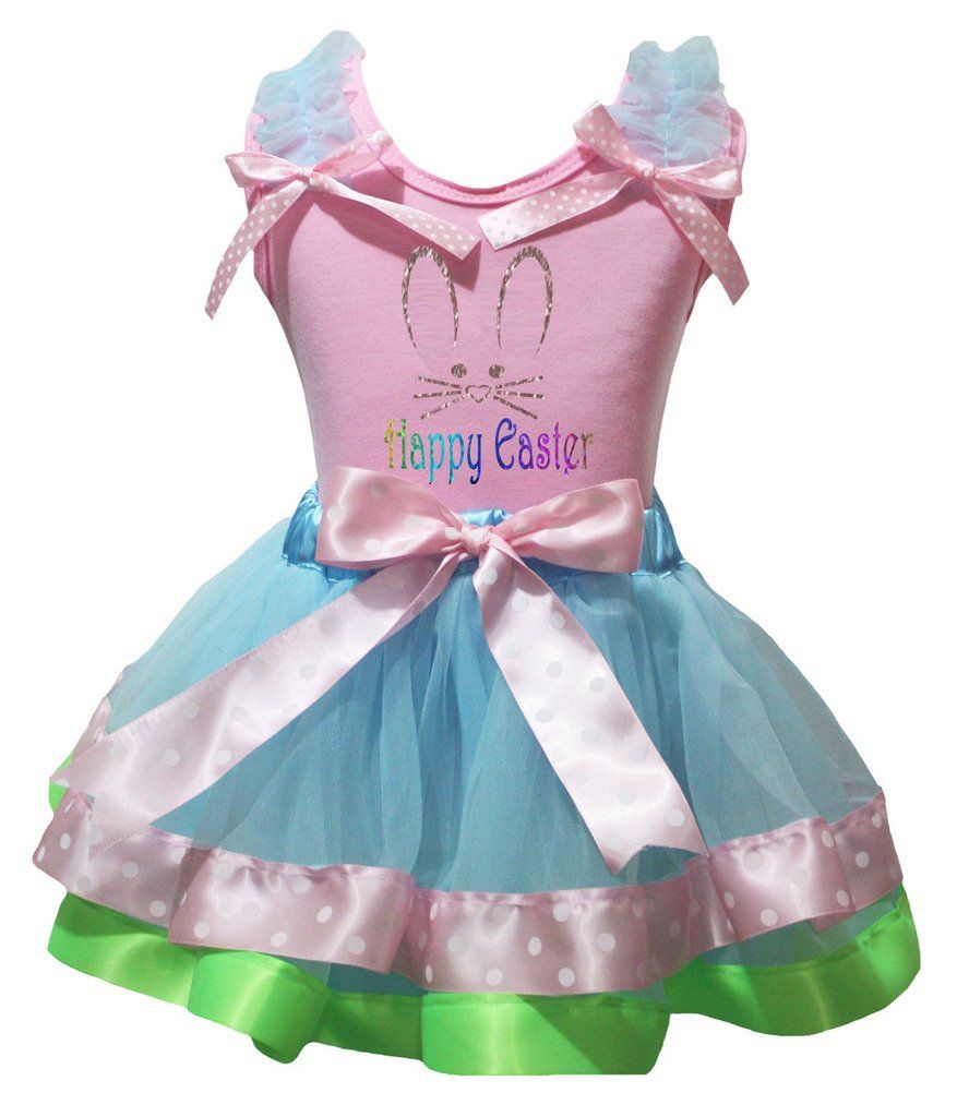 White Top Shirt Lacing Pink Gold Satin Trim Skirt Pettiskirt Girls Outfit NB-8Y