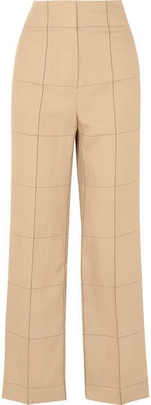Illari Checked Canvas Wide-leg Pants - Beige By Malene Birger A7dGctB