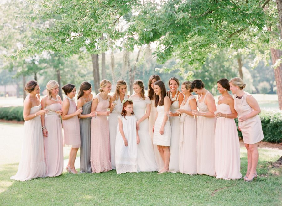 bridesmaids in blush, ivory, and grey