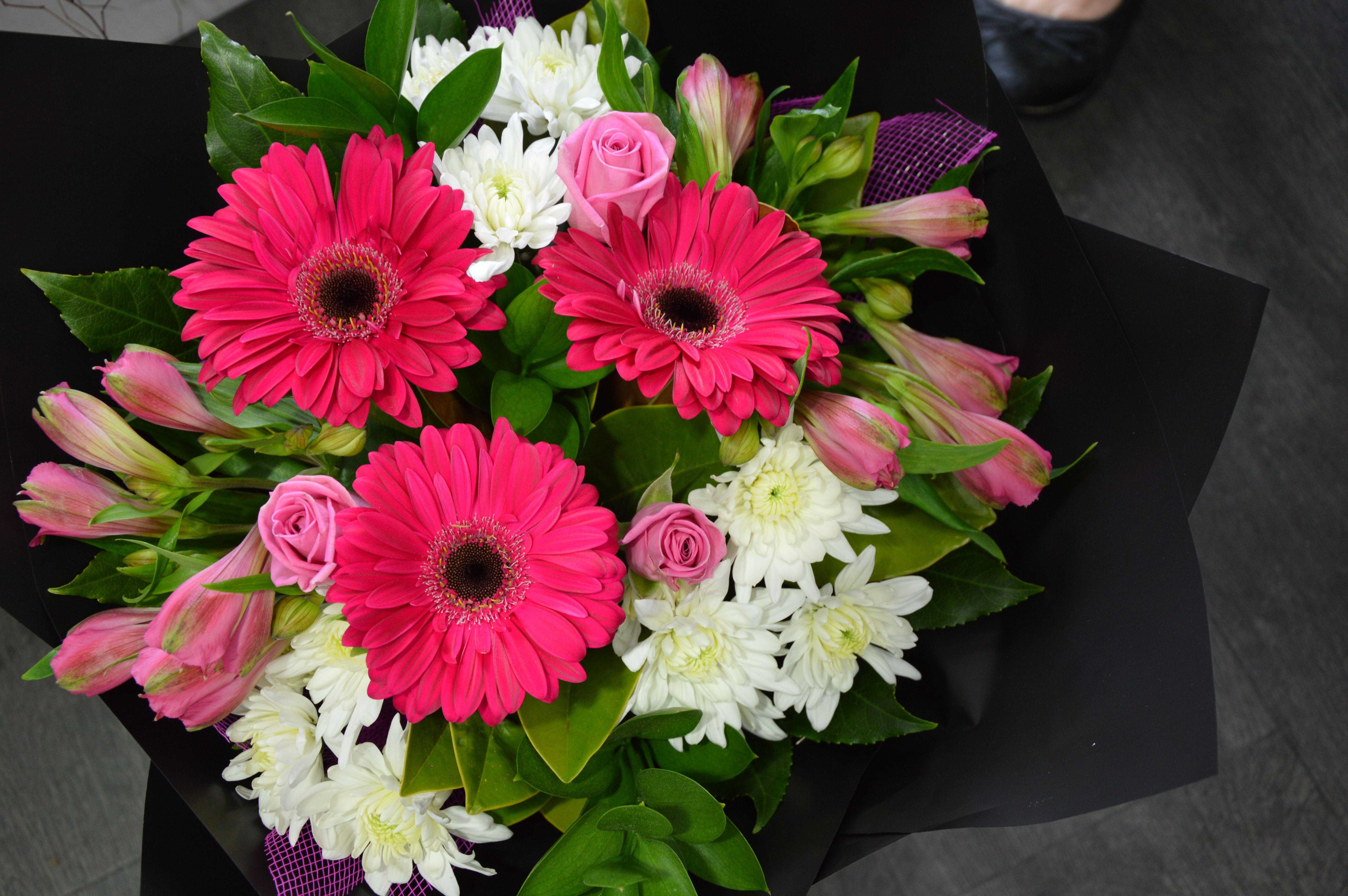 Pink gerbera's,white chrysanthemums,pink alstomeria & pink roses