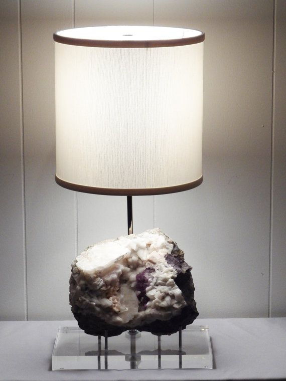 Gemstone lamp with flourite calcite by crystalluxelighting on etsy