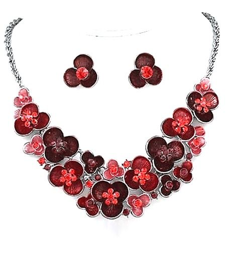 Hermatite and Rhinestones Red Necklace