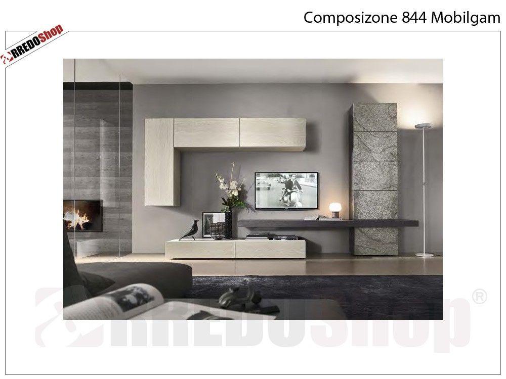 composizione 844 mobilgam arredi coco viagrande | parete ... - Parete Attrezzata Per Tv Logic 530