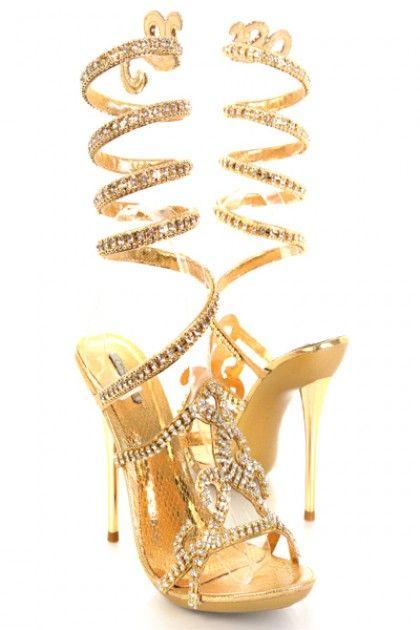a665d963b19d99 Gold Rhinestone Wrap Around Strap Single Sole Heels Faux Leather ...