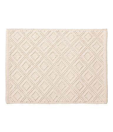 knutemønstret badematte | naturhvit | h&m home | h&m no | textiles, Badezimmer ideen