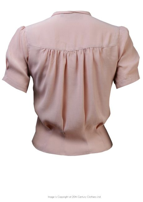 1930s Style 'Bonnie' Blouse in Blush Crepe