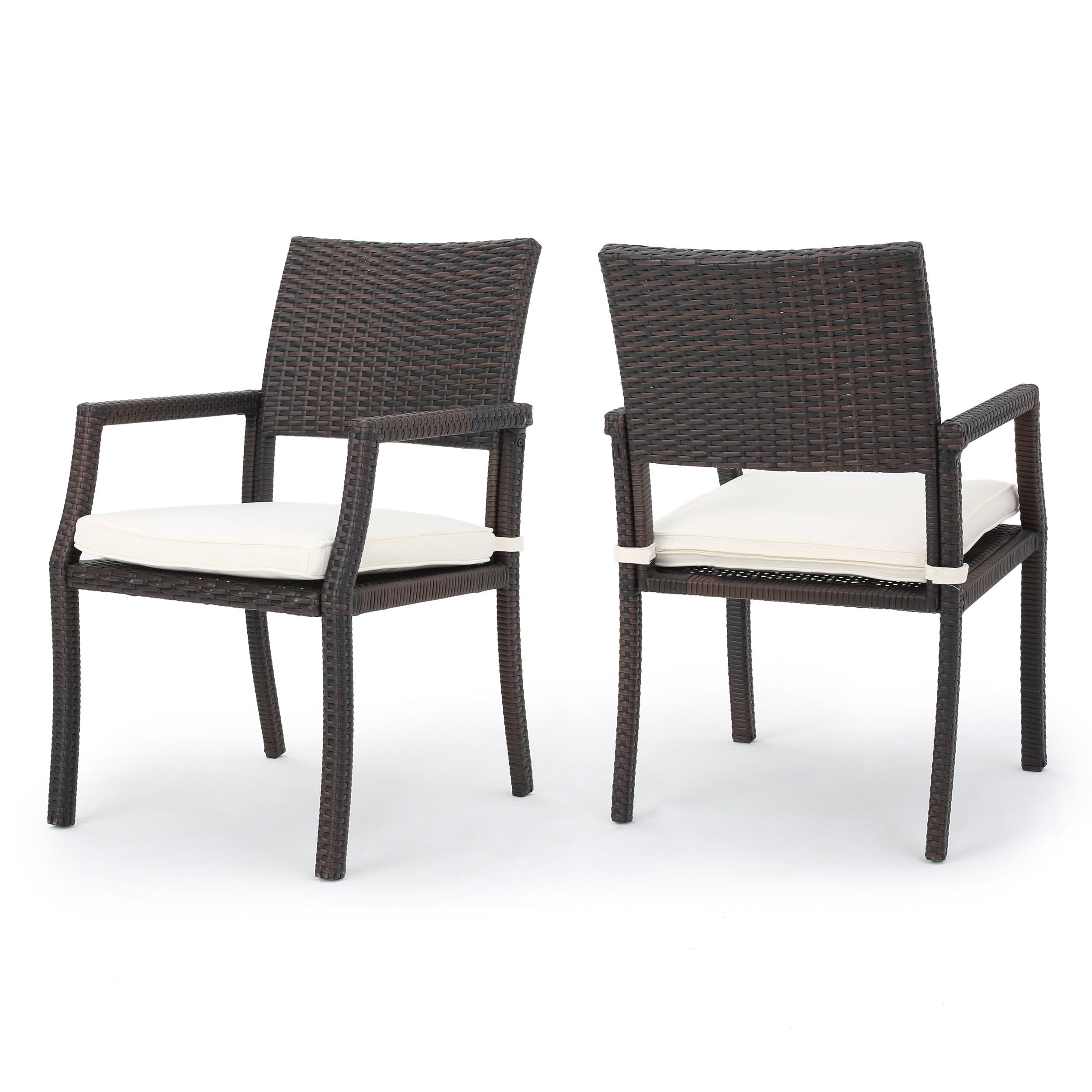 Rhode Island Outdoor Wicker Dining Chair Chair with Cushion (Set ...