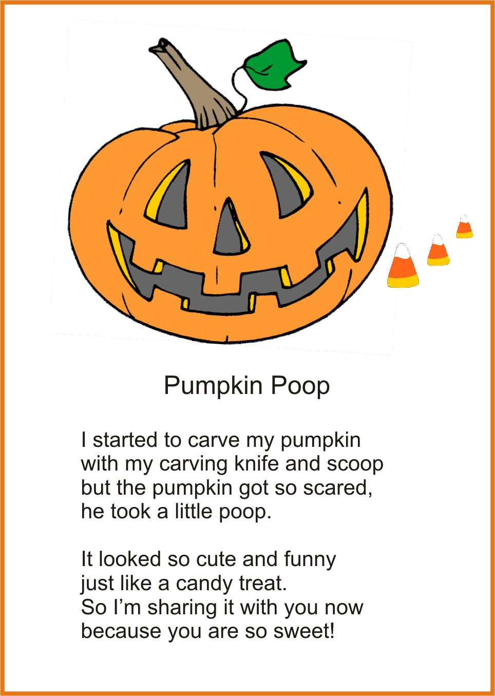printable pumpkin poop poem for halloween - Funny Halloween Poems For Kids