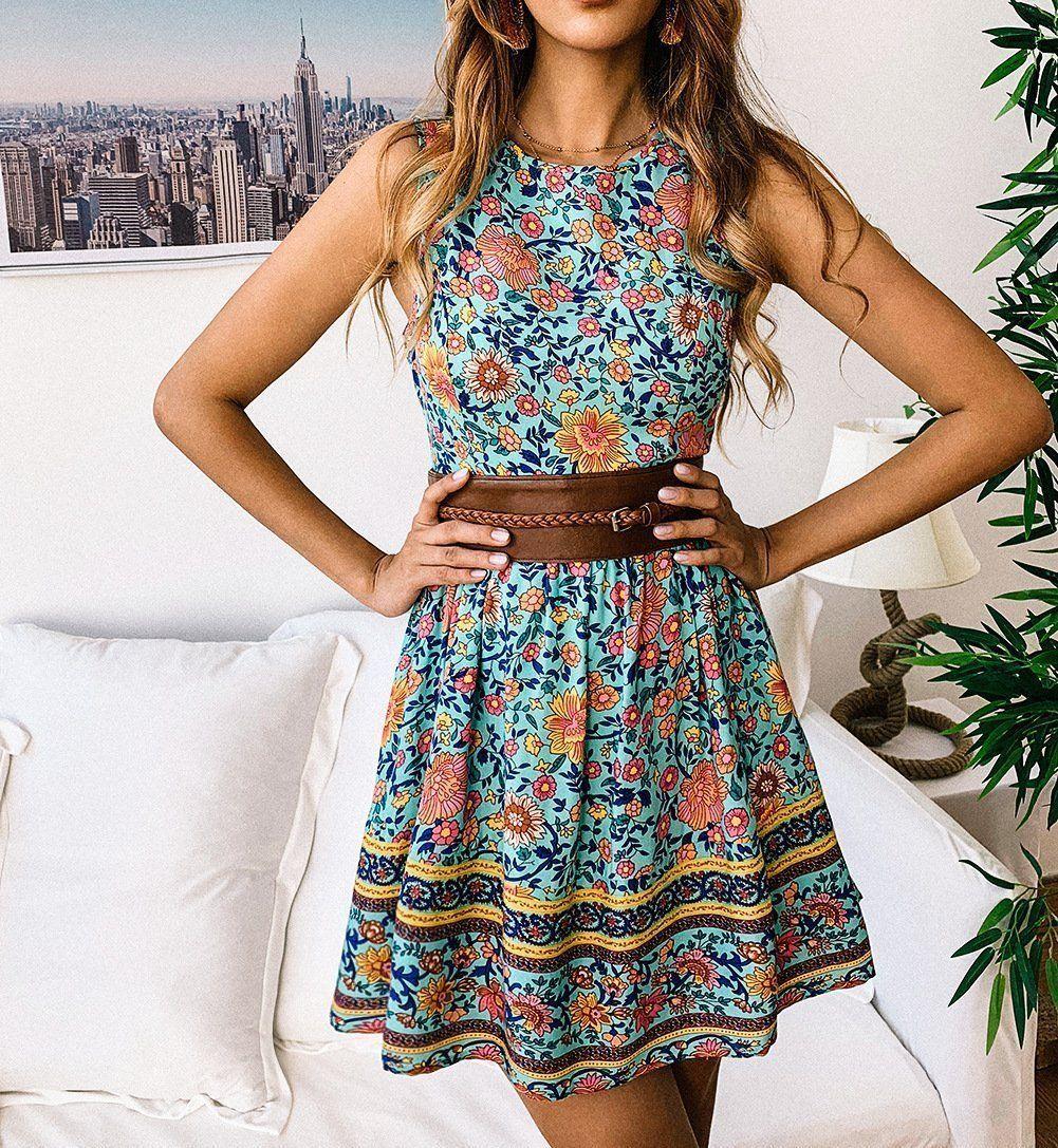 Casual Sleeveless Slim Bohemian Style Printing Mini Dresses In 2021 Casual Dresses For Teens Mini Dress Casual Short Mini Dress [ 1087 x 1001 Pixel ]
