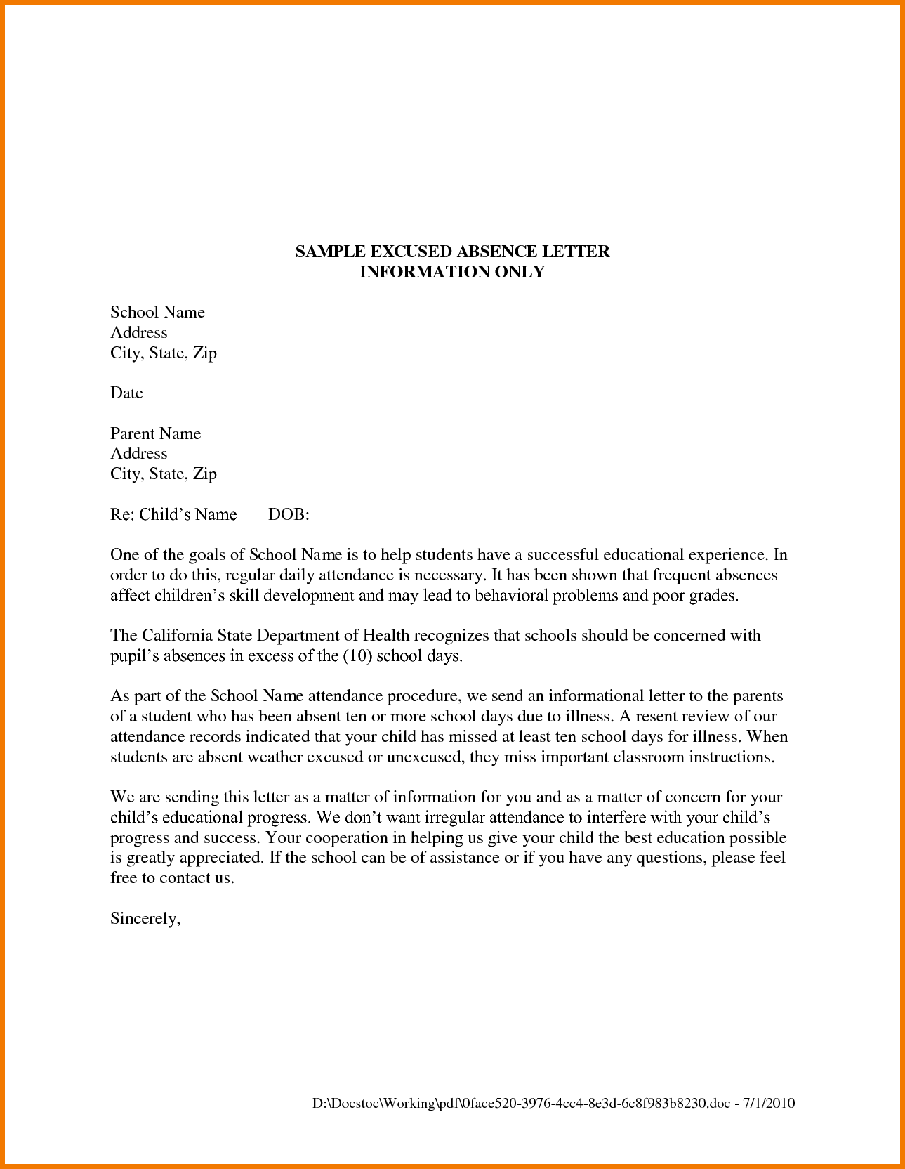 Application Sample For Leave Absence College Letter Format  Home